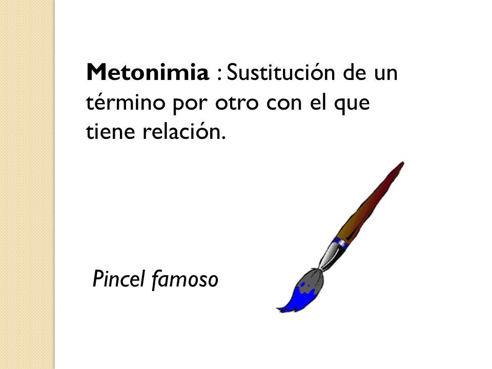 Metonimia : Sustitución de un término por otro con el que tiene relación.