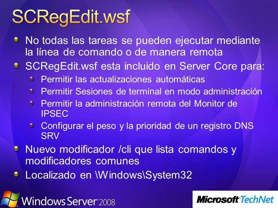 SCRegEdit.wsf No todas las tareas se pueden ejecutar mediante la línea de comando o de manera remota.