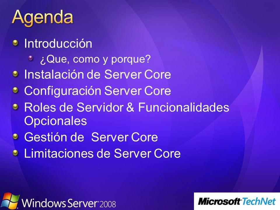 Agenda Introducción Instalación de Server Core