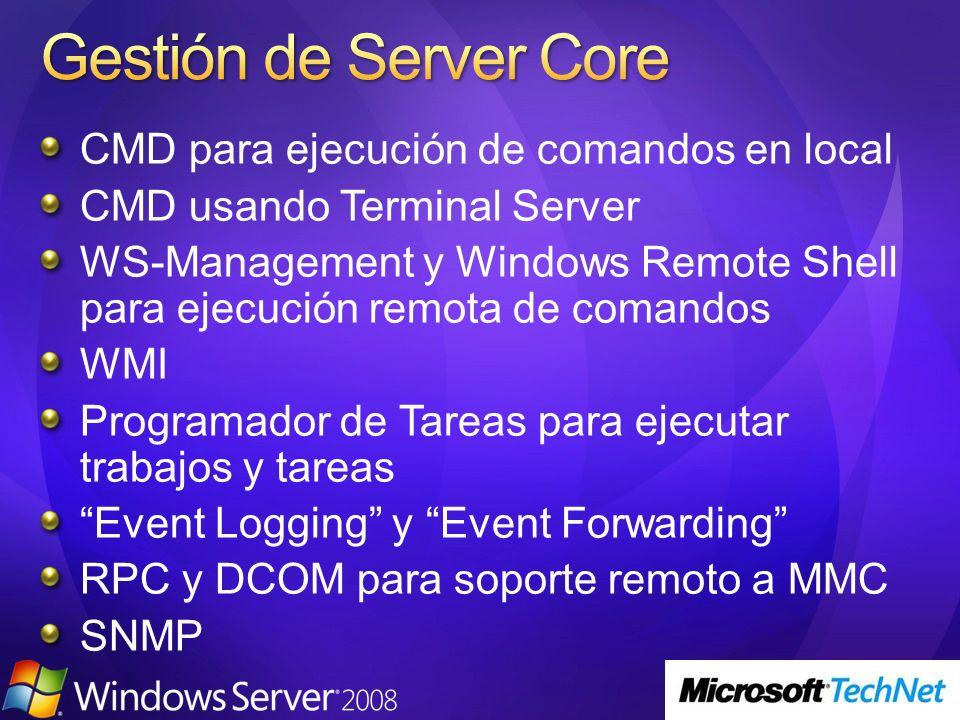 Gestión de Server Core CMD para ejecución de comandos en local