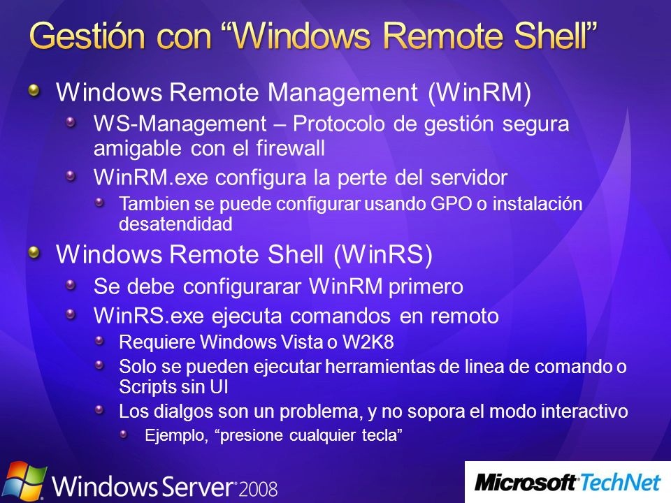 Gestión con Windows Remote Shell