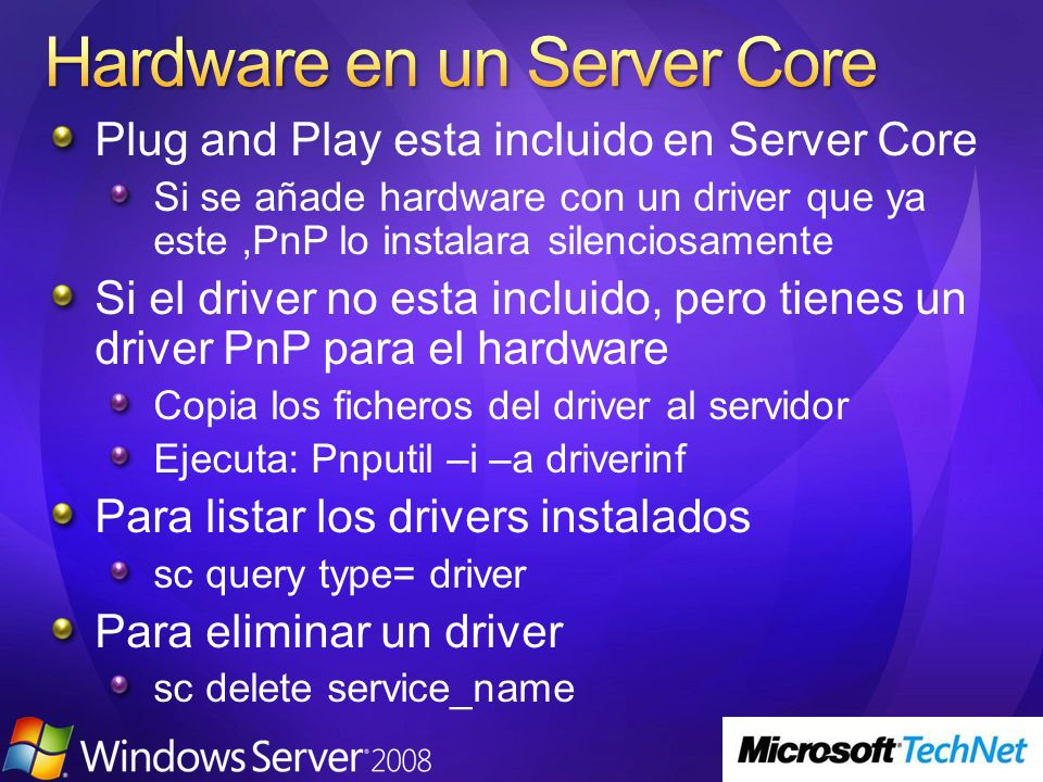 Hardware en un Server Core