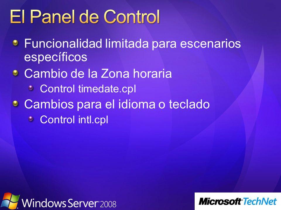 El Panel de Control Funcionalidad limitada para escenarios específicos