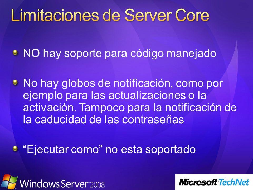 Limitaciones de Server Core