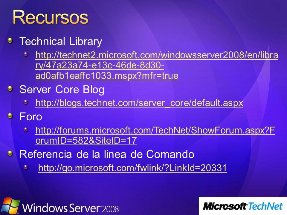Recursos Technical Library Server Core Blog Foro