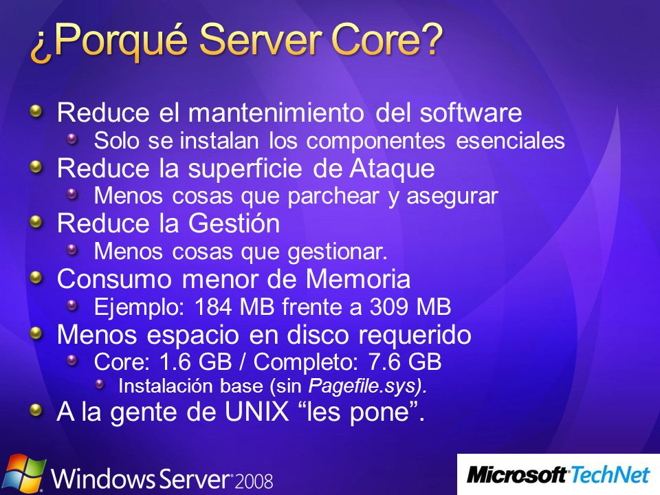 ¿Porqué Server Core Reduce el mantenimiento del software