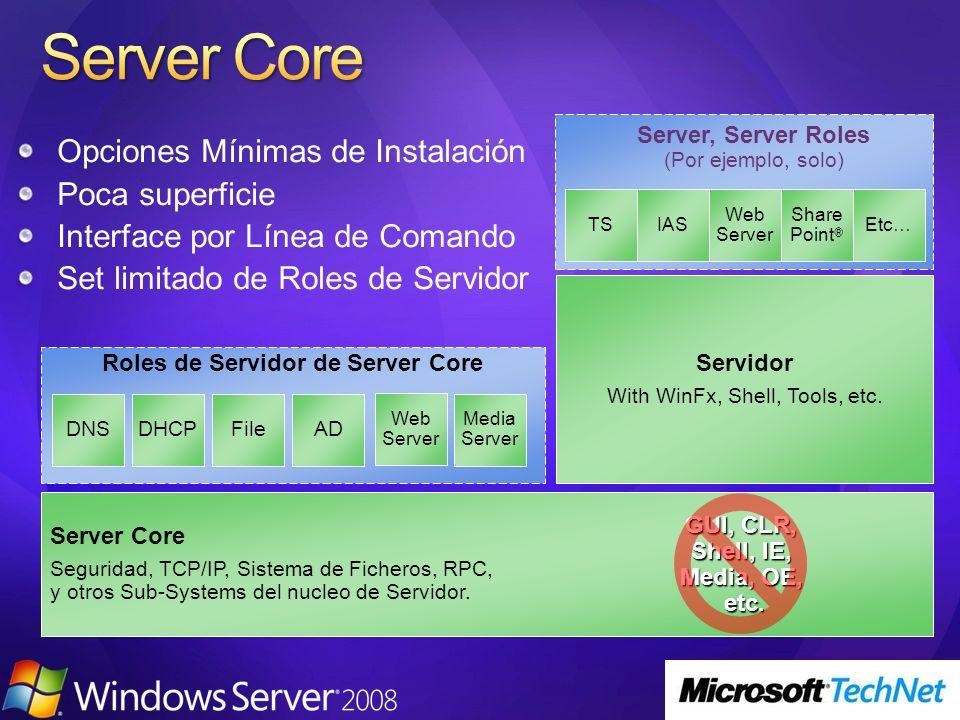 Roles de Servidor de Server Core GUI, CLR, Shell, IE, Media, OE, etc.