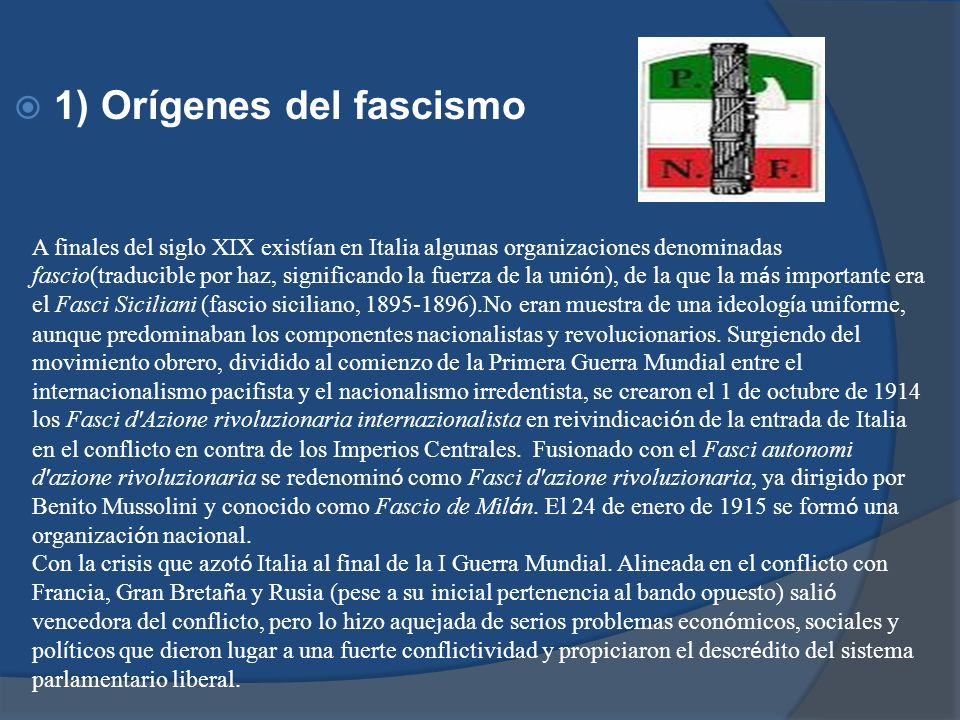 1) Orígenes del fascismo