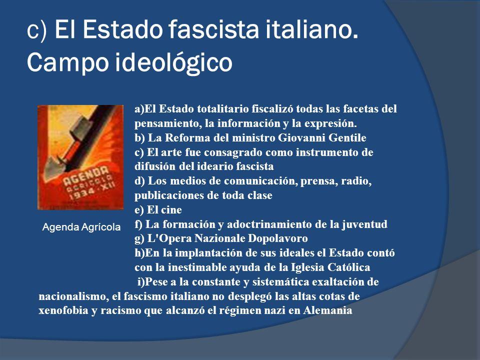 c) El Estado fascista italiano. Campo ideológico