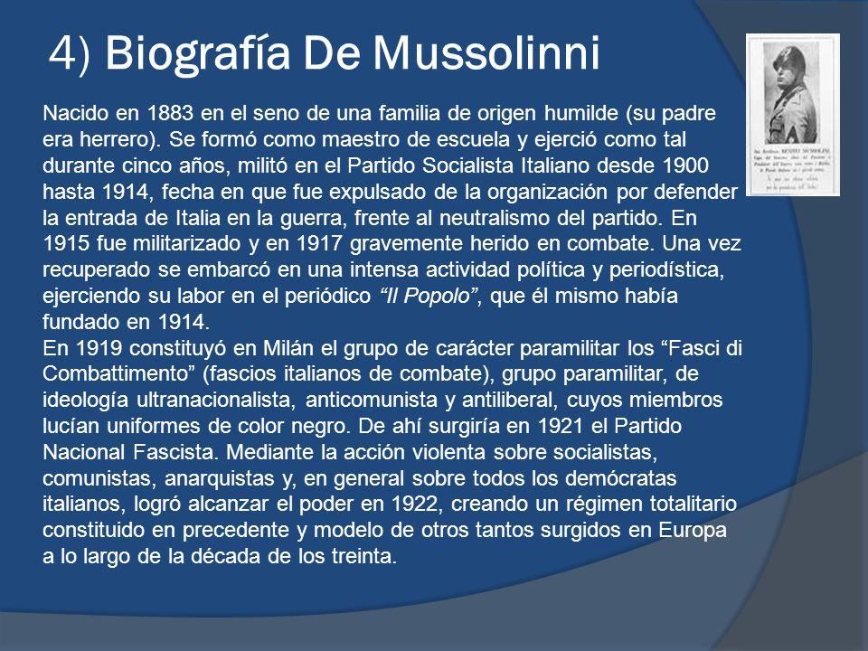 4) Biografía De Mussolinni