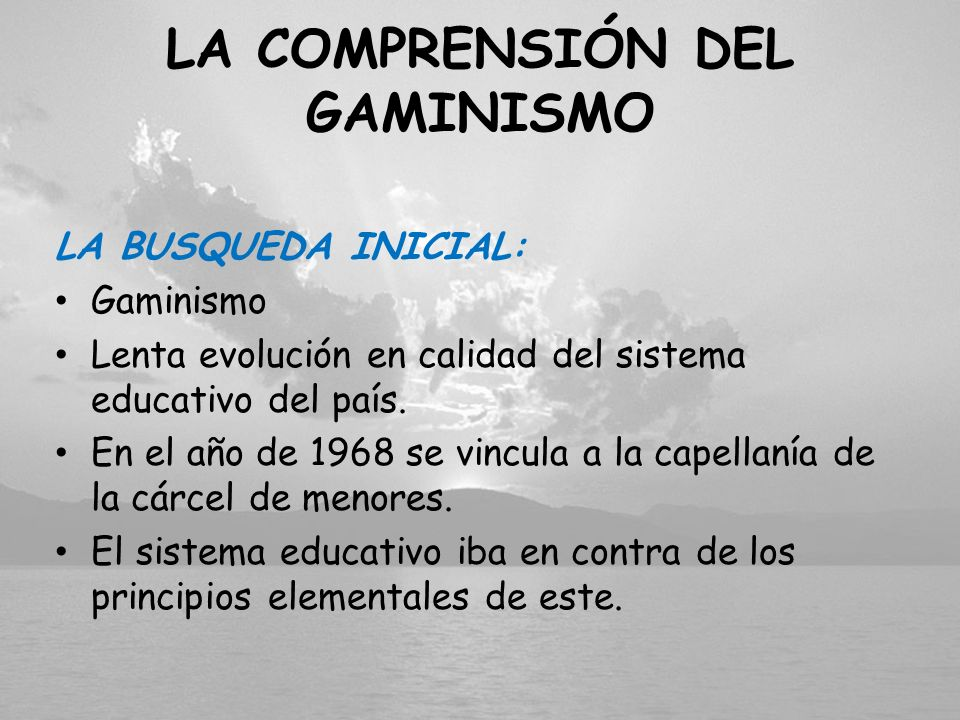 LA COMPRENSIÓN DEL GAMINISMO