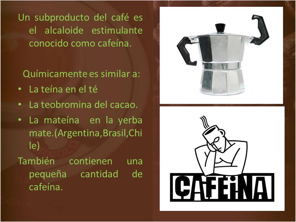 Un subproducto del café es el alcaloide estimulante conocido como cafeína.