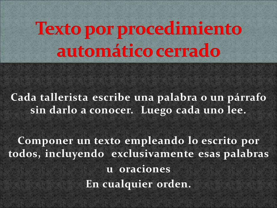 Texto por procedimiento automático cerrado