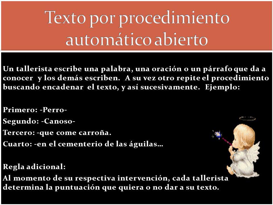 Texto por procedimiento automático abierto