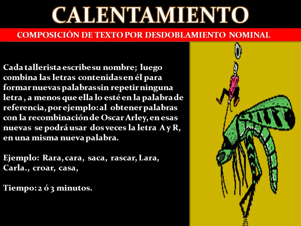 CALENTAMIENTO COMPOSICIÓN DE TEXTO POR DESDOBLAMIENTO NOMINAL