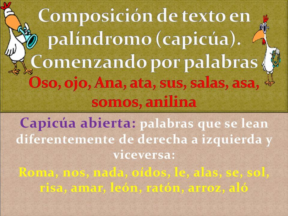 Composición de texto en palíndromo (capicúa)