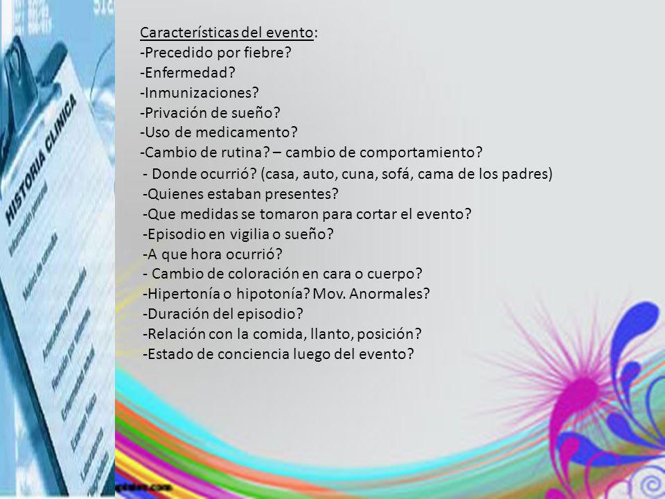Características del evento: