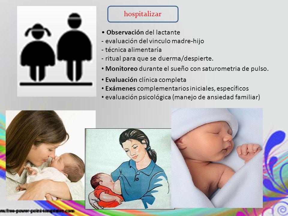 hospitalizar • Observación del lactante. - evaluación del vinculo madre-hijo. - técnica alimentaría.