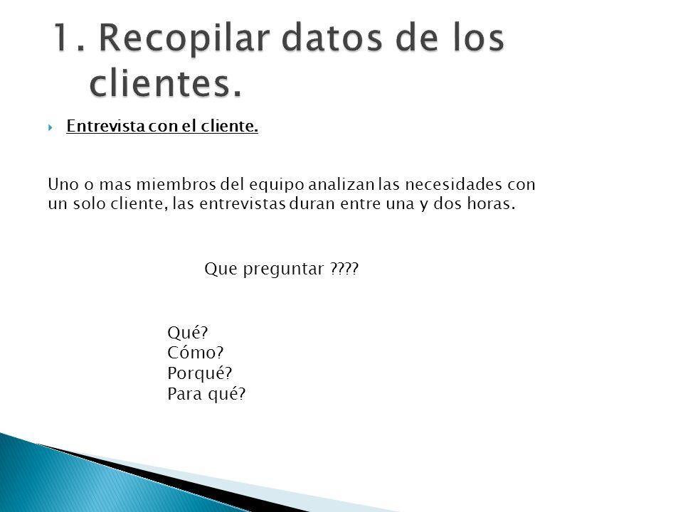 1. Recopilar datos de los clientes.