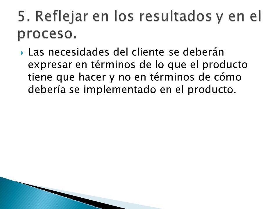 5. Reflejar en los resultados y en el proceso.