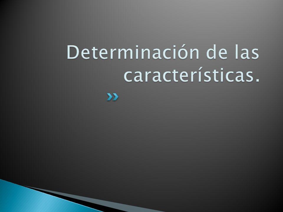 Determinación de las características.