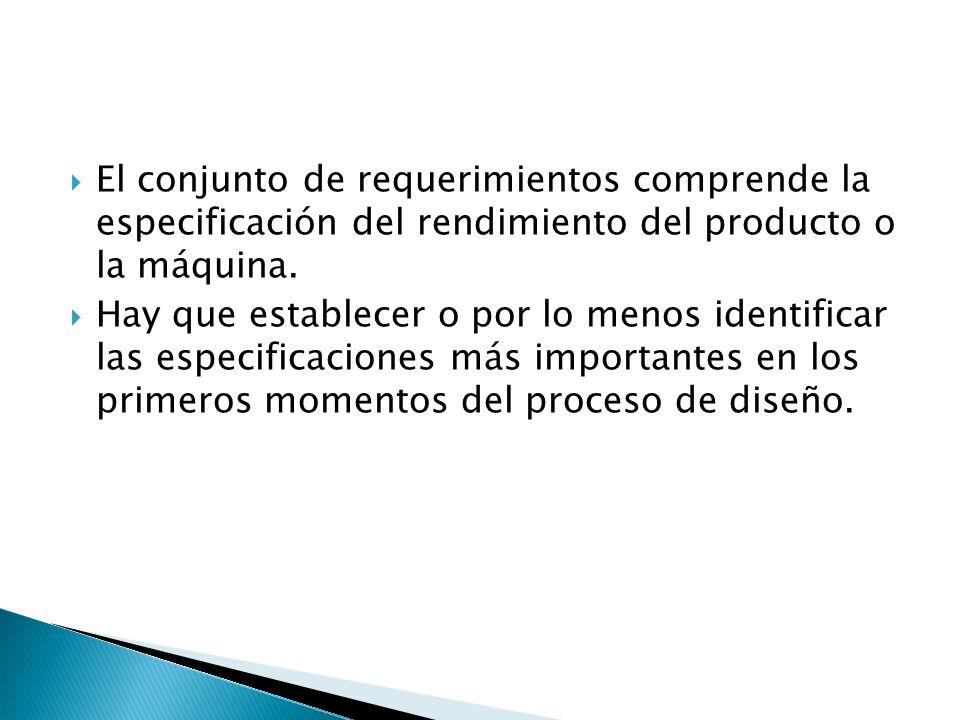 El conjunto de requerimientos comprende la especificación del rendimiento del producto o la máquina.