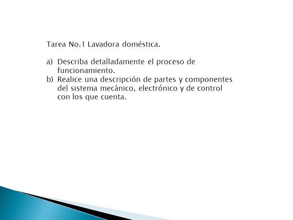 Tarea No.1 Lavadora doméstica.