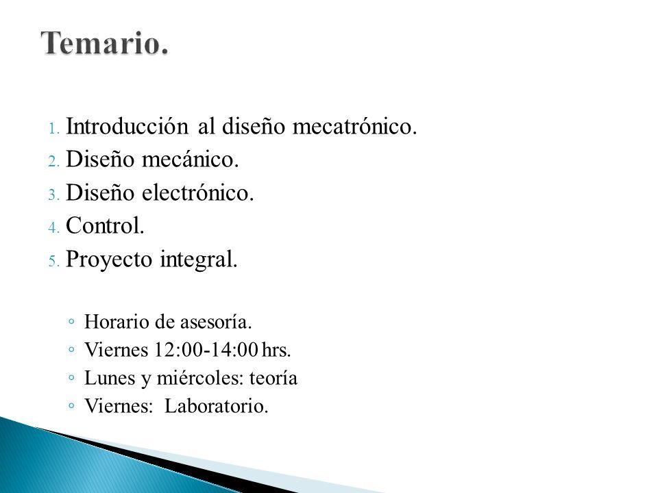 Temario. Introducción al diseño mecatrónico. Diseño mecánico.