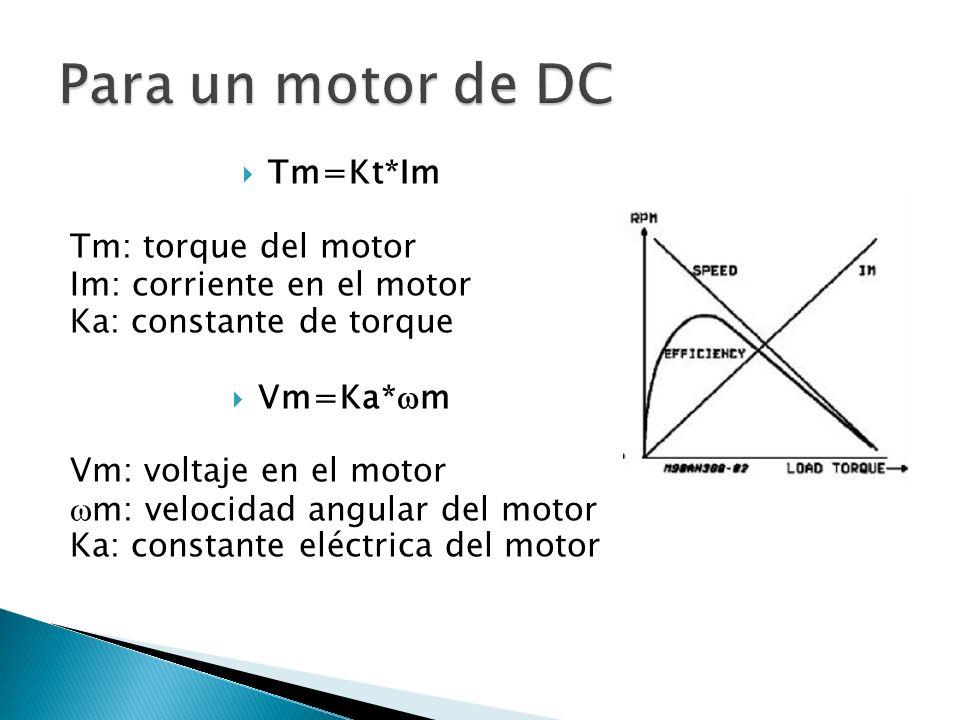Para un motor de DC Tm=Kt*Im Tm: torque del motor
