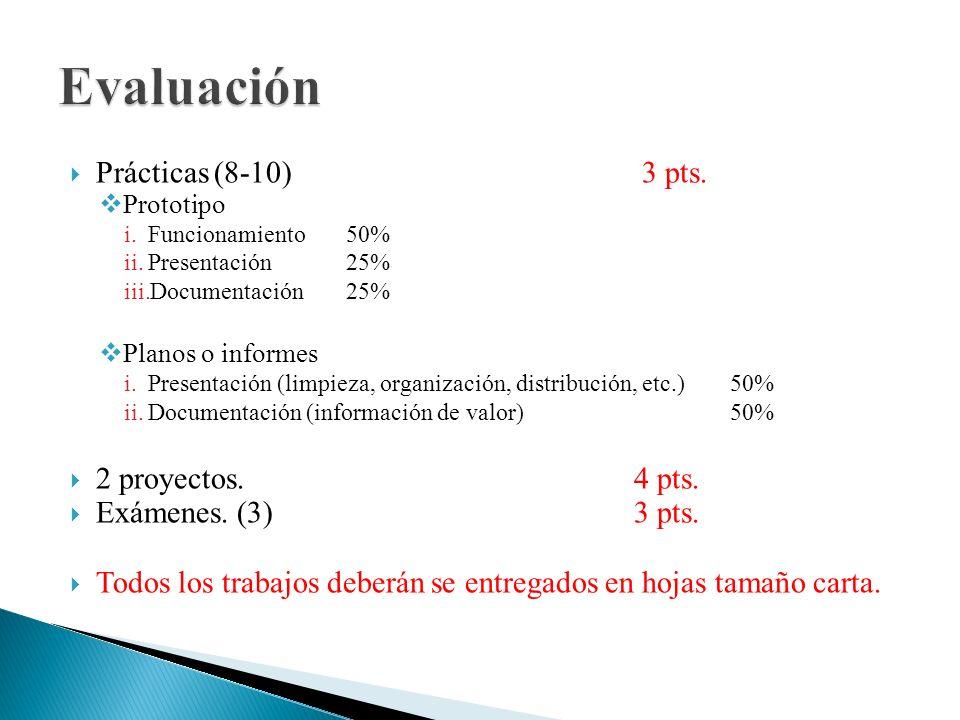 Evaluación Prácticas (8-10) 3 pts. 2 proyectos. 4 pts.