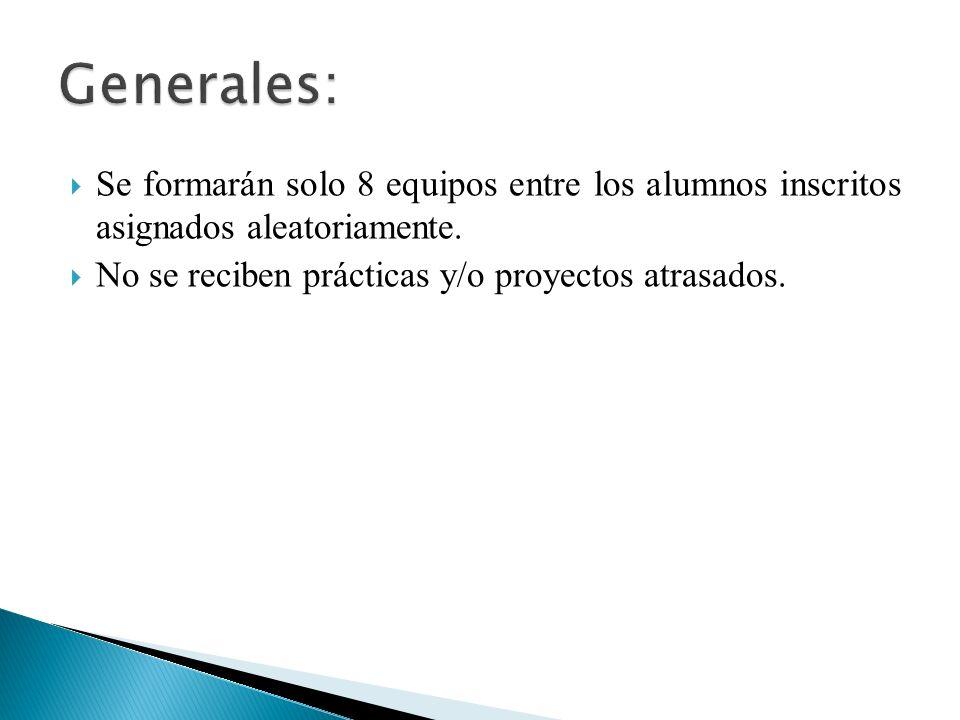 Generales: Se formarán solo 8 equipos entre los alumnos inscritos asignados aleatoriamente.