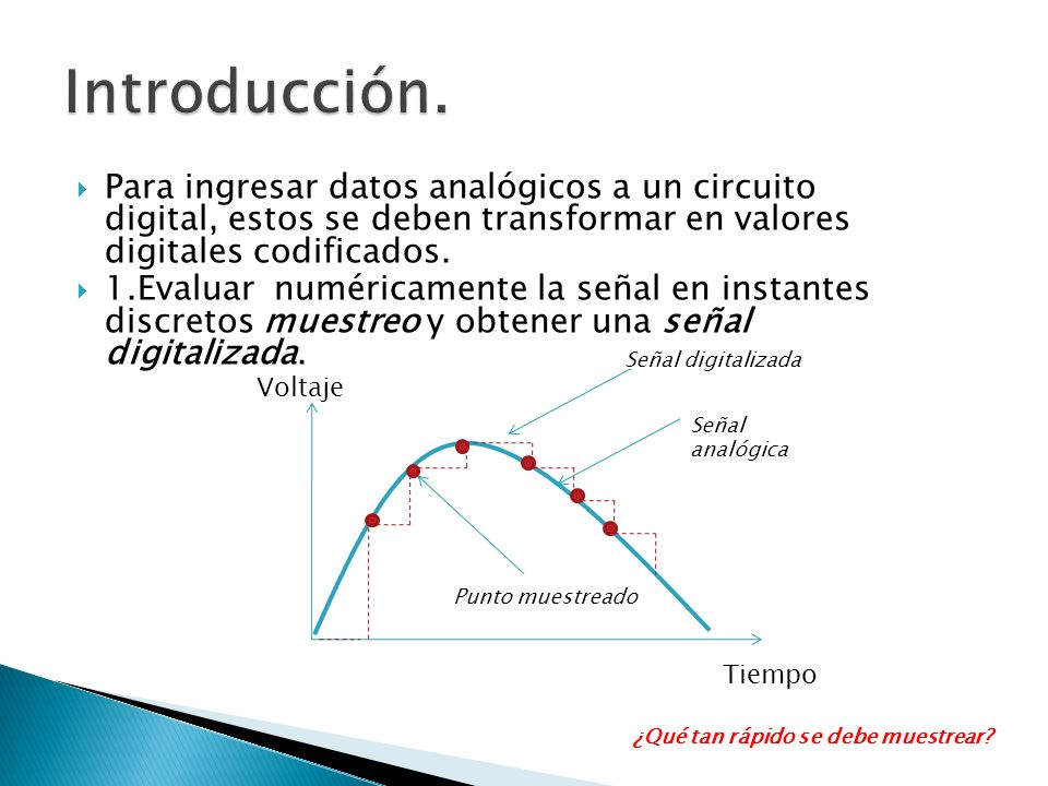 Introducción. Para ingresar datos analógicos a un circuito digital, estos se deben transformar en valores digitales codificados.