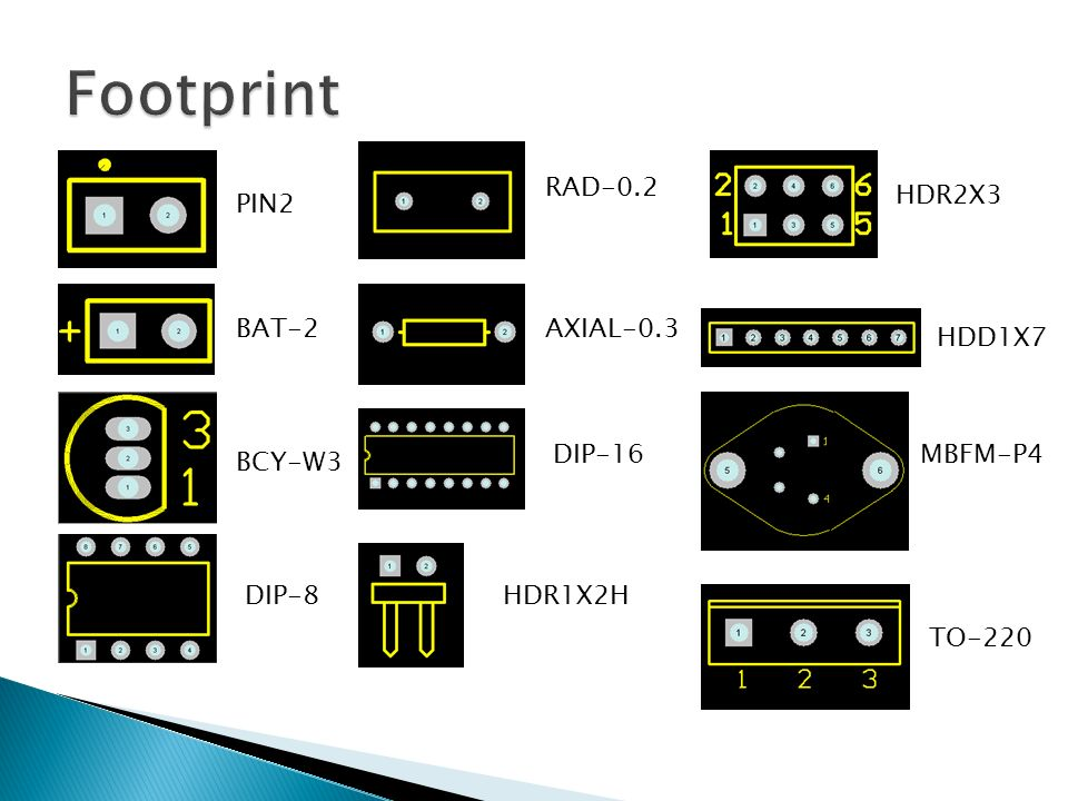 Footprint RAD-0.2 HDR2X3 PIN2 BAT-2 AXIAL-0.3 HDD1X7 DIP-16 MBFM-P4
