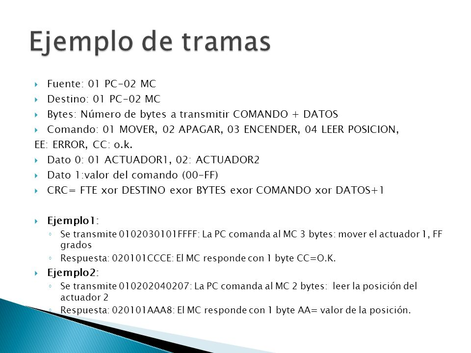 Ejemplo de tramas Fuente: 01 PC-02 MC Destino: 01 PC-02 MC