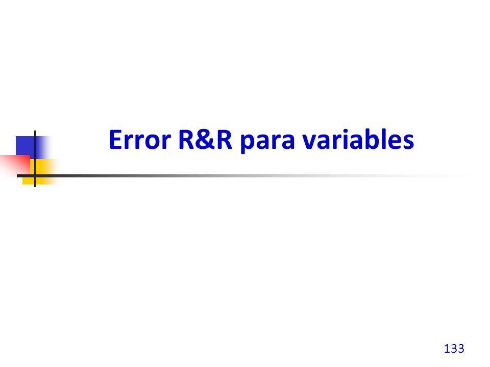 Error R&R para variables