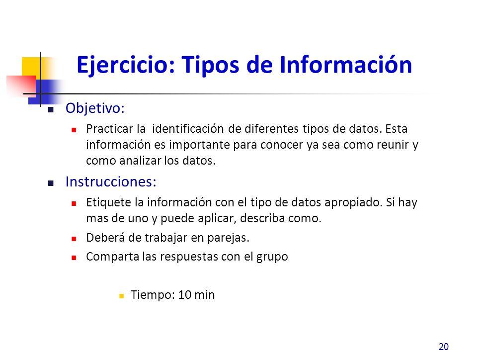 Ejercicio: Tipos de Información