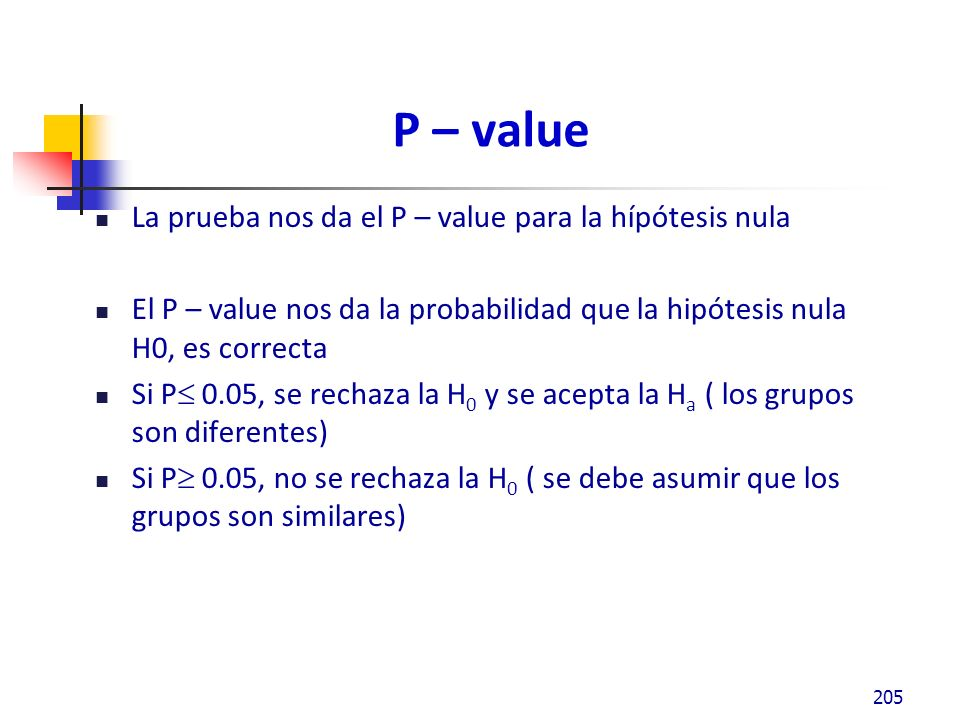 P – value La prueba nos da el P – value para la hípótesis nula