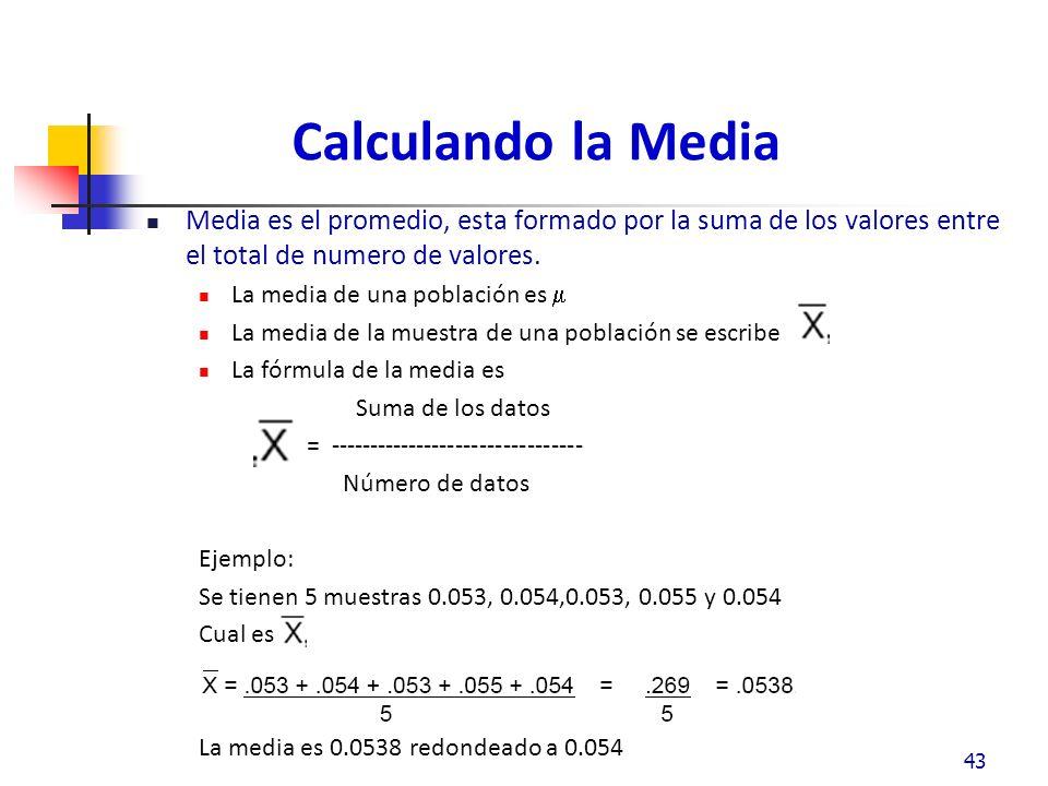 Calculando la Media Media es el promedio, esta formado por la suma de los valores entre el total de numero de valores.