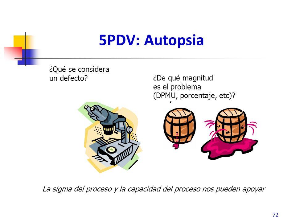 5PDV: Autopsia ¿Qué se considera un defecto ¿De qué magnitud