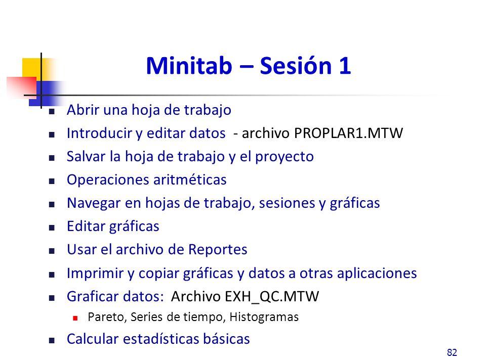 Minitab – Sesión 1 Abrir una hoja de trabajo