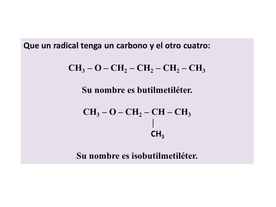 Su nombre es butilmetiléter. Su nombre es isobutilmetiléter.