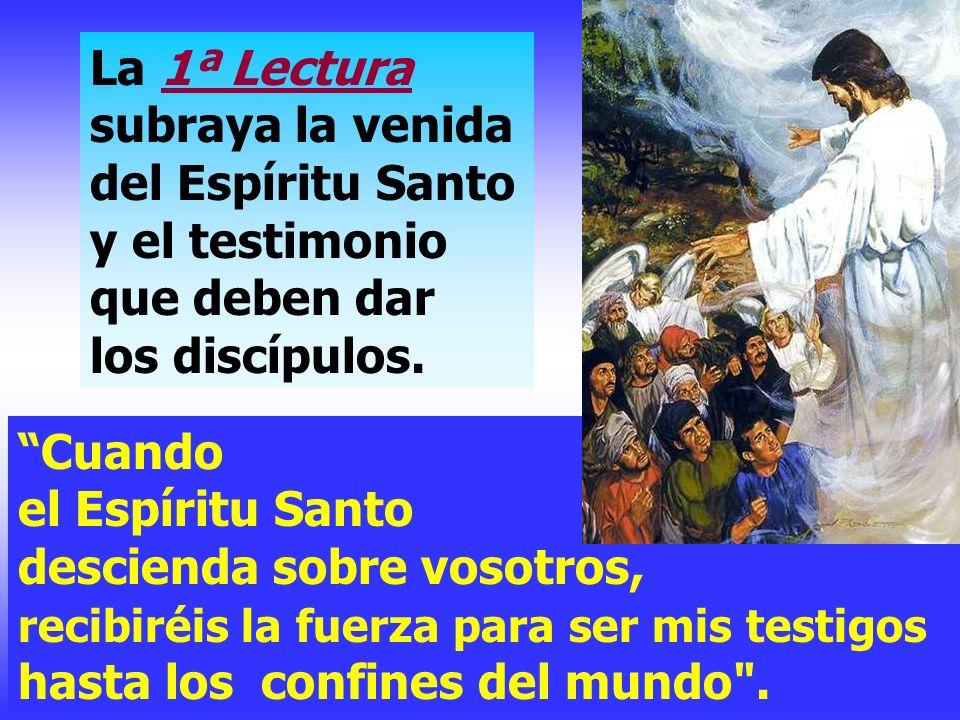 La 1ª Lectura subraya la venida del Espíritu Santo y el testimonio que deben dar los discípulos.