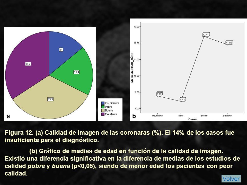a b. Figura 12. (a) Calidad de imagen de las coronaras (%). El 14% de los casos fue insuficiente para el diagnóstico.