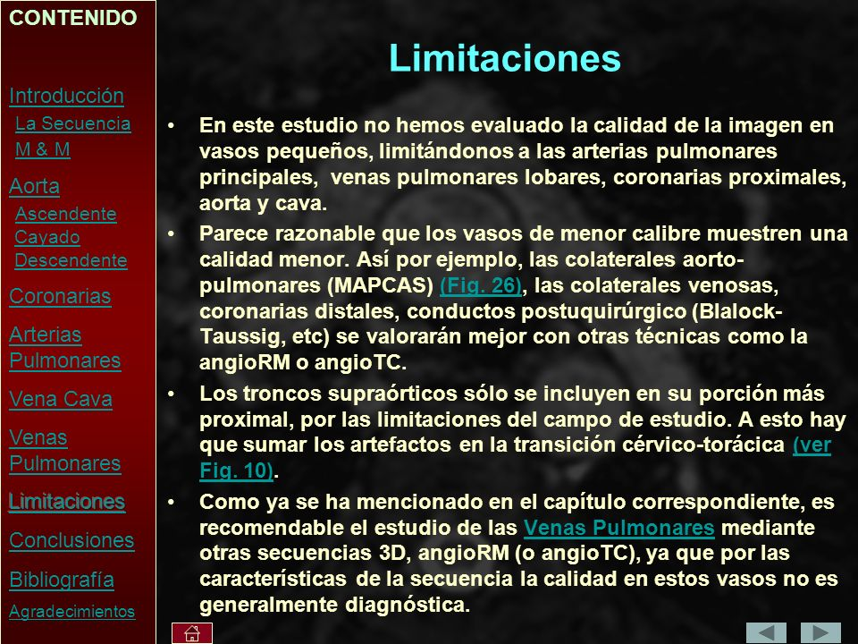 Limitaciones CONTENIDO Introducción La Secuencia M & M Aorta