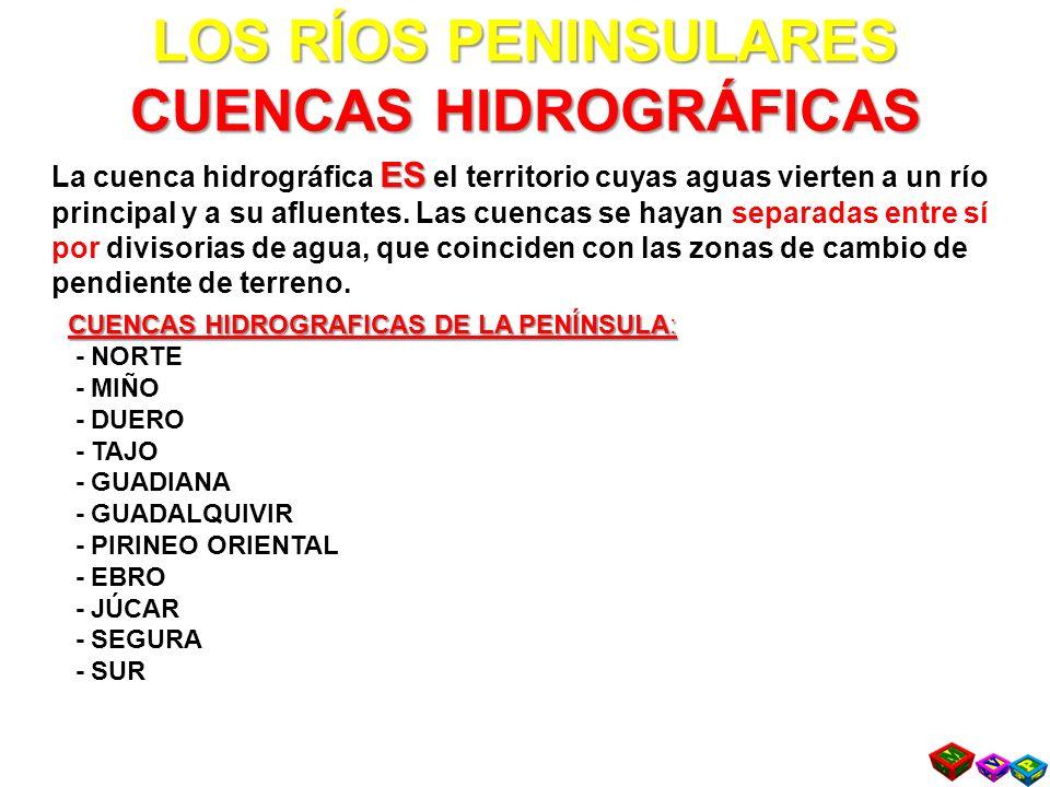 LOS RÍOS PENINSULARES CUENCAS HIDROGRÁFICAS