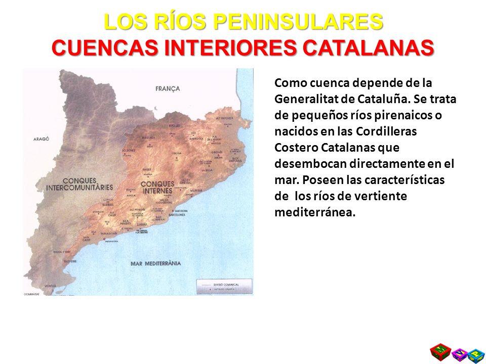 LOS RÍOS PENINSULARES CUENCAS INTERIORES CATALANAS