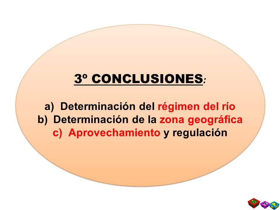 3º CONCLUSIONES: Determinación del régimen del río
