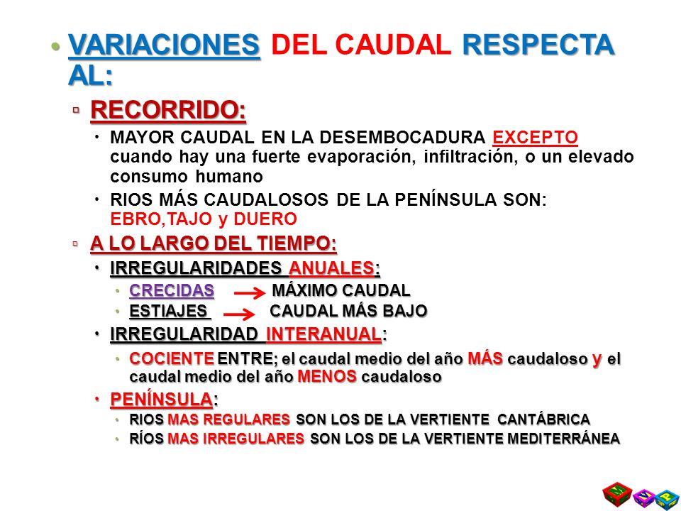 VARIACIONES DEL CAUDAL RESPECTA AL: