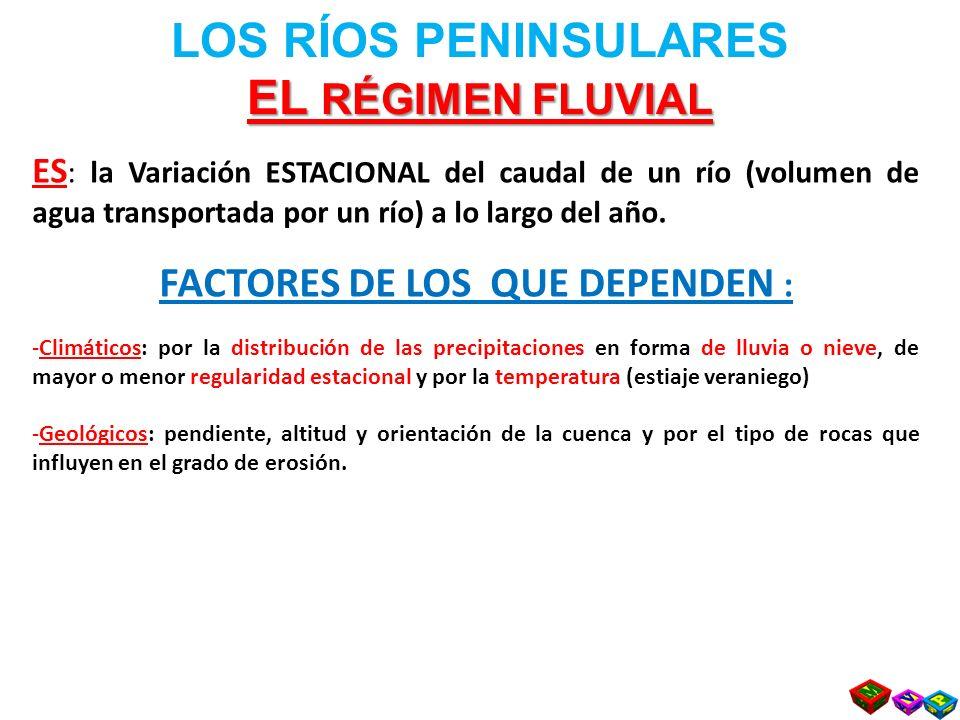 LOS RÍOS PENINSULARES EL RÉGIMEN FLUVIAL