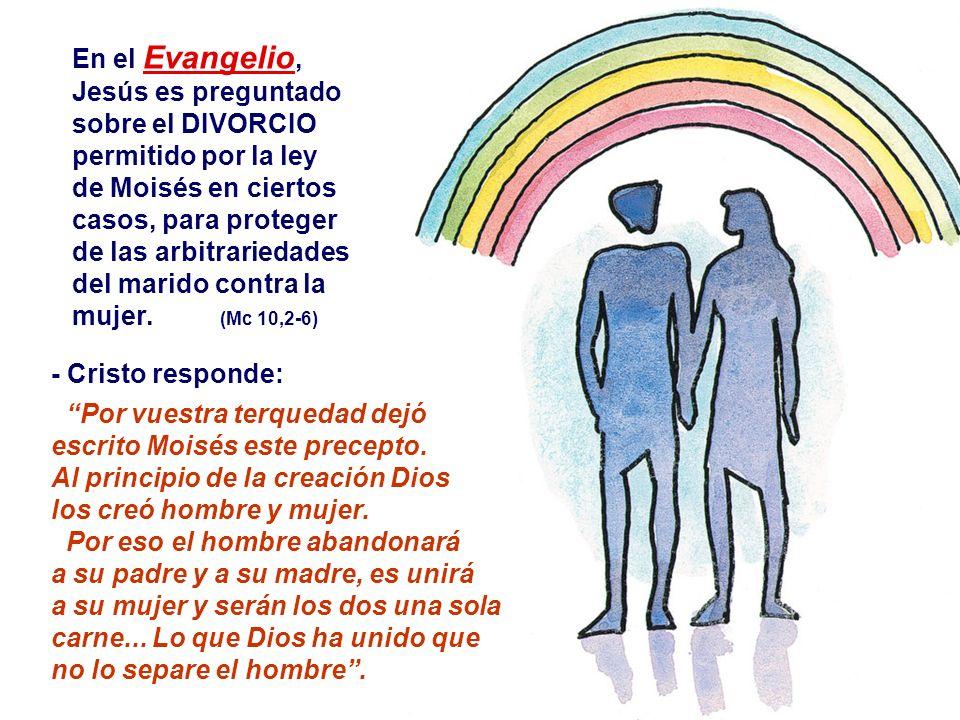 En el Evangelio, Jesús es preguntado sobre el DIVORCIO
